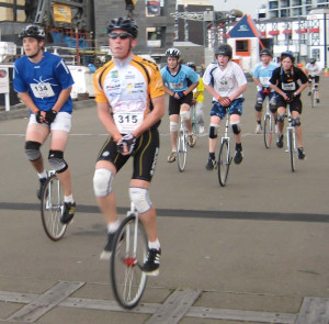 unicycle-race-bunch
