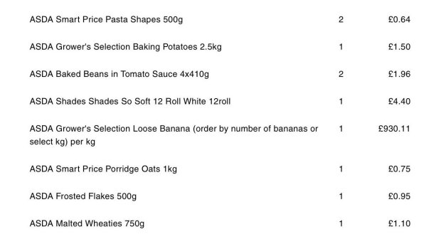 Mum charged £930 for single banana in ASDA online shop mix up