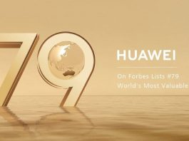 Huawei #79 on the Forbes World's Most Valuable Brands List